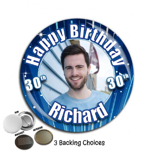 Large 75mm Personalised Blue Glitz Happy Birthday PHOTO Badge N40